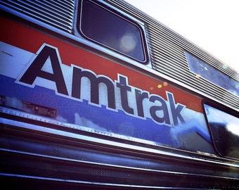 Retro Travel Photography, Amtrak Train Photo, Train Art Photogpraphy