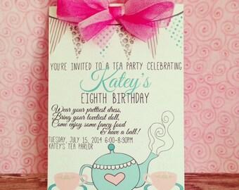 printable tea party invitation, tea party birthday invite, custom digital tea party invitation, pink and blue tea party