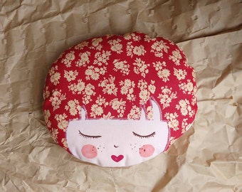 Face fabric red-doudou doll handmade - small cushion face