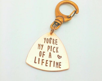 Guitar Pick Keychain You're My Pick of A Lifetime, Gift for Him, Gift for Boyfriend, Gift for Husband, Gift for Girlfriend, Gift for Wife