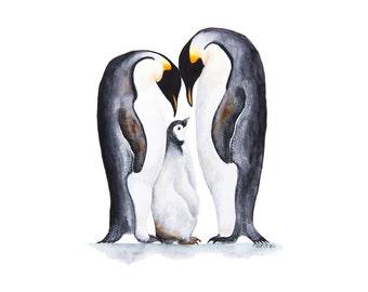 Penguin Wall Art, Nursery Decor, Penguin Art Print, Penguin Wall Decor, Penguin Painting, Penguin Watercolor, Boy, Girl, Gray  - 11x14