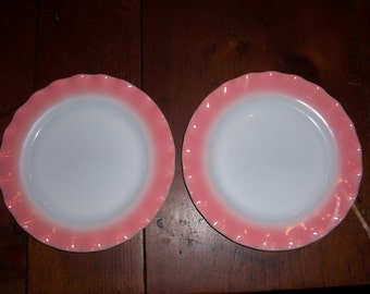 Vtg.Hazel Atlas Pink Crinoline Dinner Plates..Lasagna/Ripple/Petticoat Mid Century Dinnerware..Set of 2..Collectible Pretty Romantic Dishes