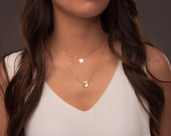 Layered personalized disc necklaces, Gold layered initial disc necklaces, Delicate gold layered necklaces, Gold circle tag necklaces layered