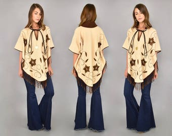 60's Embroidered Wool Poncho