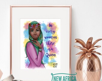 "Melanin Squad Art Print ""Malikah"", Art print - Unframed, African American Art, 8 x 10, 11 x 14"