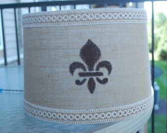 Custom Burlap Fleur de lis Lamp Shade