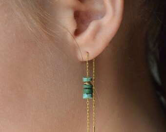 Threader earrings, Turquoise earrings gold, Gold filled earrings, Chain earrings, Ear threaders, Long gold earrings, Dangling earrings