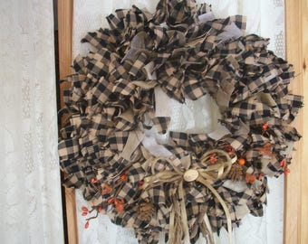 PRIMITIVE or RUSTIC  Mini wreath of candle ring