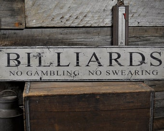 Billiards No Gambling No Swearing Sign - Rustic Hand Made Vintage Wooden ENS1000471