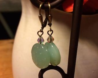 Seafoam green glass bead earrings