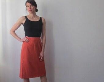 Vintage '50s Hamilton New York Coral Wool Pencil Skirt w/ Incredible Pocket & Kick Pleat Detail, 26 Inch Waist