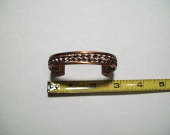 Copper Cuff Bracelet Braided Woven Textured 29.4 Grams