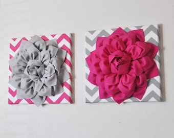 Flower Wall Decor- Two Wall Hangings - Hot Pink Dahlia on Gray and White Chevron 12 x 12 Canvas and Gray Dahlia on Hot Pink and White