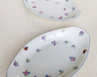 Dutch Vintage MOSA Maastricht Oval Plate with Petit Flowers