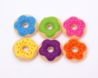 A set of donut magnets. Doughnut Gifts. Felt Fridge Magnets. Donut of felt.