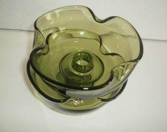 Anchor Hocking Avocado Green Glass Candle Holders, vintage glass candle holders