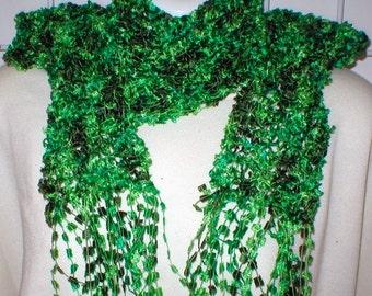 Emerald green scarf, womens scarf, butterfly yarn scarf, green scarf, neck warmer, St. Patrick's Day scarf, spring scarf, womens green scarf