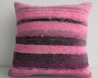 pink pillow overdyed kilim pillow cover 20x20 - 50x50 cm overdyed turkish kilim pillow one color pillow couch pillow floor cushion cover 622