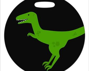 Velociraptor  - 4 Inch or 2.5 Inch Round Plastic Bag Tag