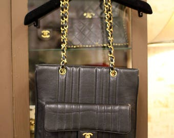 Rare Vintage Chanel Caviar Vertical Quilted Shopper Tote Bag