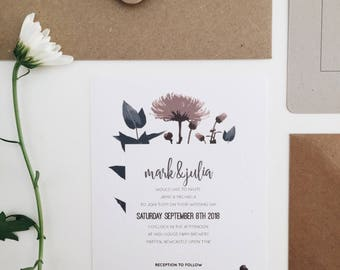 The Garden || Rustic Wedding Invitations, Handmade Wedding Invitation Suite, Romantic Floral Wedding Invite Set, Blush Floral