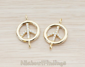 CNT044-G // Glossy Gold Plated Clear Crystal Cubic Zirconia Setting Peace Sign Round Connector, 2 Pc