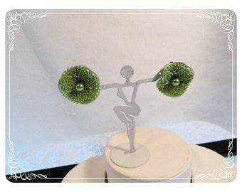 Pastel Green Wavy Pearl Earrings Vintage Rhinestone E557a-080512000