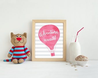 Adventure Awaits - Hot Air Balloon Nursery - Nursery Decor - Hot air balloon nursery - Kids Room Decor - Nursery Wall Art - Nursery Art