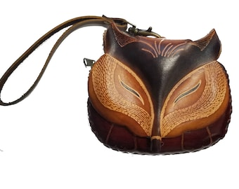 Genuine Leather Fox Wristlet - Fox Coin Purse - Wallet -  Fox Face - Foxy Loxy