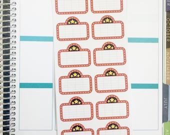 Movie Theatre Marquee Banner Planner Stickers (fits Erin Condren)