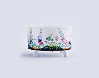 Porcelain bowl, decorative bowl, handmade bowl, ceramic bowl, bowl, serving bowl, porcelain bowl with golden glaze,