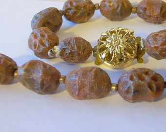 Vintage Necklace in Brown or Orange Textured  Plastic Beads Single Strand   Circa 1980   Free Shipping