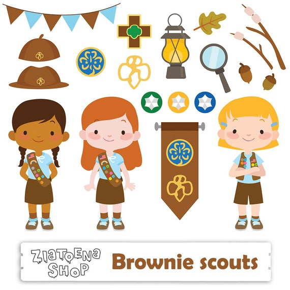 brownie girl scout clipart scout girl clip art camping digital kids rh etsystudio com girl scout cookie clipart girl scout clipart free