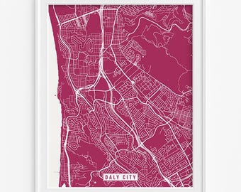 Daly City Print, California Poster, Daly City Poster, Daly City Map, California Print, Street Map, California Map, Fathers Day Gift