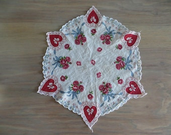 Vintage 50s hanky handkerchief, red white, hearts roses, Valentines Day gift, Mothers Day gift, Mothers Day gift