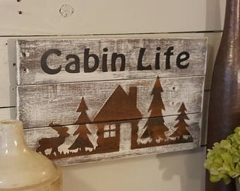 Cabin Life with Cabin Silhouette Reclaimed Wood Plaque