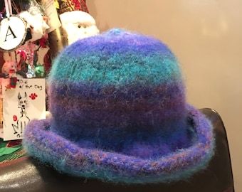 Hand knit wool felted hats