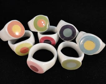 Porcelain Napkin Rings, Set/8, Hand Painted Multi-Color in Acrylic Box - Monogrammed - Personalized and Engraved
