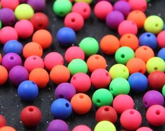 Set of 20 neon colored acrylic beads