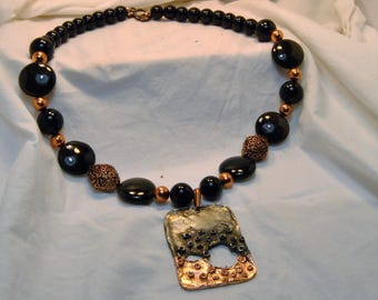 Golden Sheen Obsidian and Black Onyx Necklace