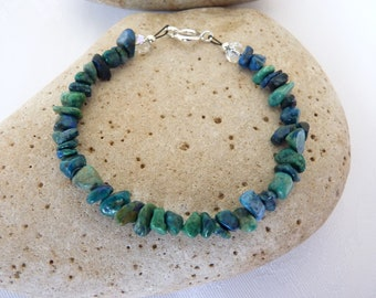 Blue Green Chrysocolla Chip Bracelet 6.5 to 8.5 Inches Scottish