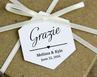 Grazie Tags - Thank You tags - Italian Wedding - Wedding Favors - Wedding Favor Tags - Destination Wedding - Hexagon Tags - Hex Tags