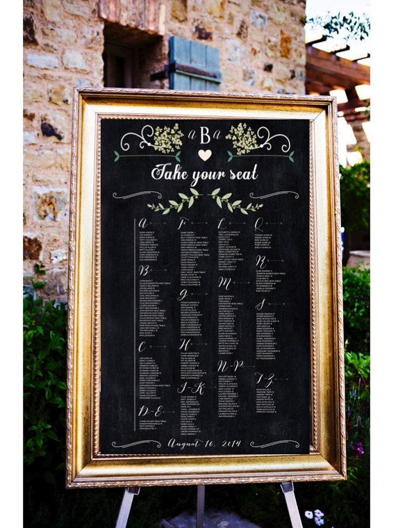 Chalkboard Wedding Table Assignments Board Table Listings By