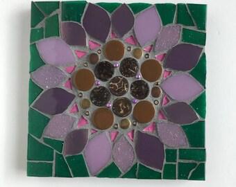 Flower Mosaic, mosaic wall art, purple flower wall decor