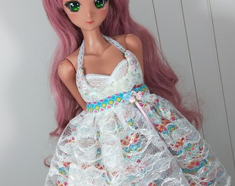Sd / Dd - Blue Pink Abstract Spring Lace Dress