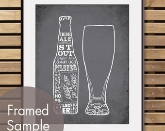 Beer and Glass - Art Print (Featured in Charcoal)  (Top Shelf Alcohol Series) Buy 3 Get One Free
