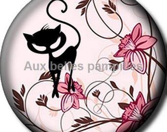 Round cabochon 25 mm - black cat resin craft (1508) - CAT, kitten, cat, feline, animals