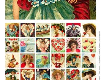 Printable Vintage Valentines in 1.5-inch squares -- piddix digital collage sheet no. 256