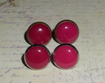 Antique Bronze or Silver Cranberry red Stud Post Earrings
