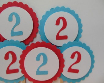 Red and Aqua 2nd Birthday Cupcake Toppers - Child Birthday Decorations - Gender Neutral - Set of 6